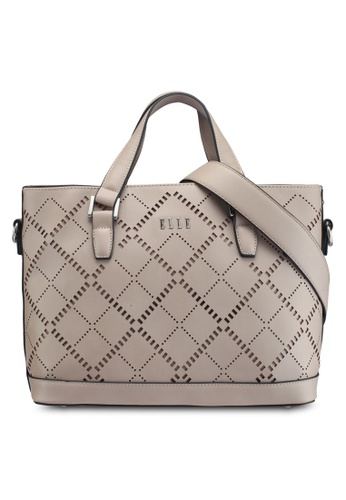 ELLE grey and brown Phoenix Shoulder Bag E1F6AAC30BF903GS_1