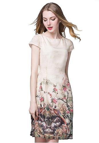 Urban Outlier beige Sleeveless Oriental Floral Printed Dress A31DFAA64FC3E2GS_1