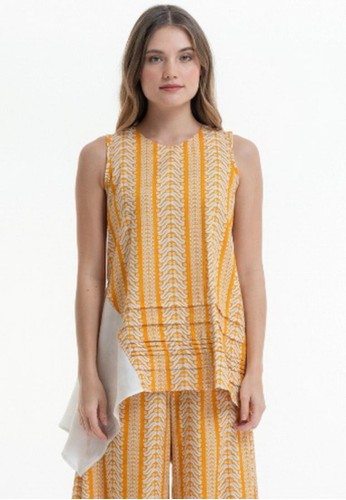 Bateeq white and yellow SL TOP DOBBY PRINT MIX JACQUARD/SS382-20 AC809AA2E1726BGS_1