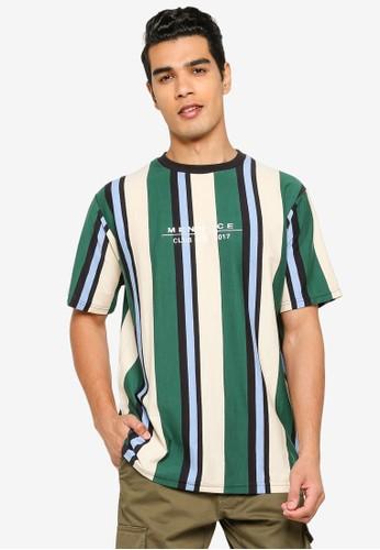 Mennace multi Vertical Stripe Short Sleeve T-Shirt F8E71AA8DF8589GS_1