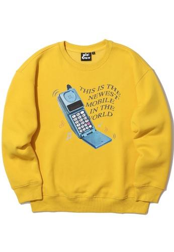 Mini cream yellow Mobile print sweatshirt A1ECEAA0525739GS_1
