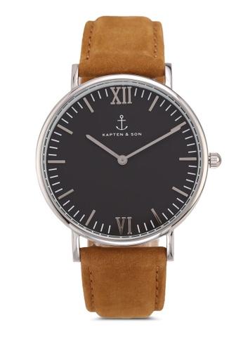 Kapten & Son brown Campus Silver Black Cognac Suede Leather Watch 2B4B8AC83CA767GS_1