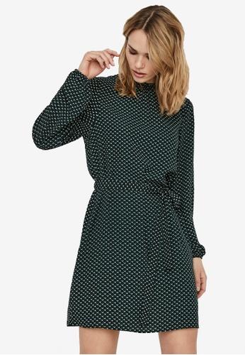 Vero Moda green Boa Long Sleeves Short Dress 3470EAAB4D8B18GS_1