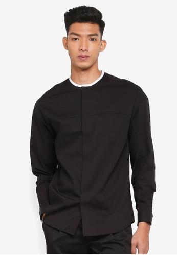 AT TWENTY black Oversized Constrast Collarless Poplin Shirt 1453AAA36A3BD5GS_1