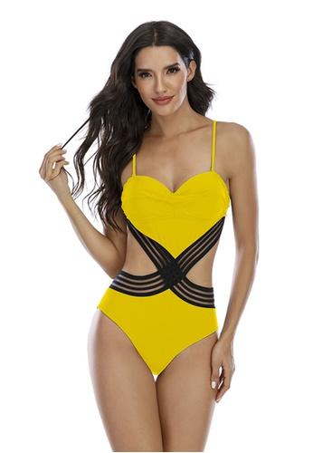 LYCKA yellow LKL7049-European Style Lady Swimsuit-Yellow 34223US38B3D49GS_1