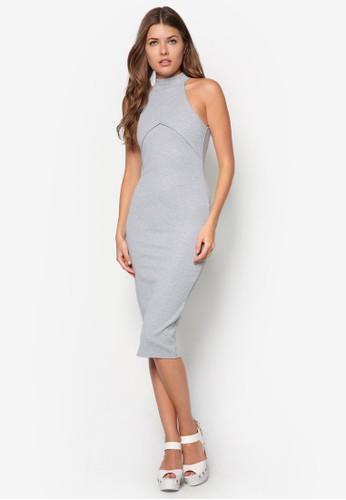 高領貼身及膝連身裙zalora 衣服尺寸, 服飾, 服飾