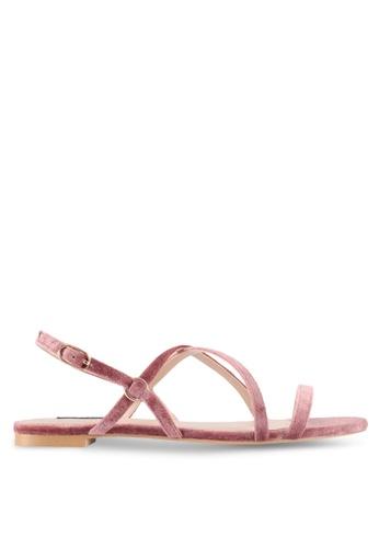 ZALORA pink Strappy Velvet Sandals C8CF9SHF1BF522GS_1