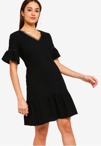 ZALORA black Flare Sleeves Dress with Trimmings 7843CAA91A1234GS_1
