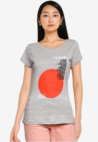 JACQUELINE DE YONG grey Chicago Life Short Sleeves Print Top A1852AAC23262FGS_1