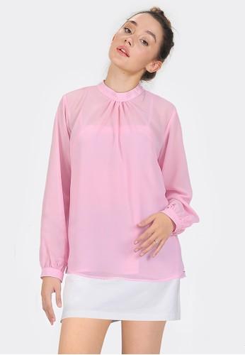 SJO & SIMPAPLY pink SJO Chiffon Sheer Blouse Set Light Pink 36059AA1E970FFGS_1