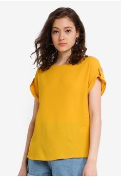 e96986a08b7c5e Dorothy Perkins yellow Ochre Button T-Shirt 03A3DAA4DC59B8GS_1