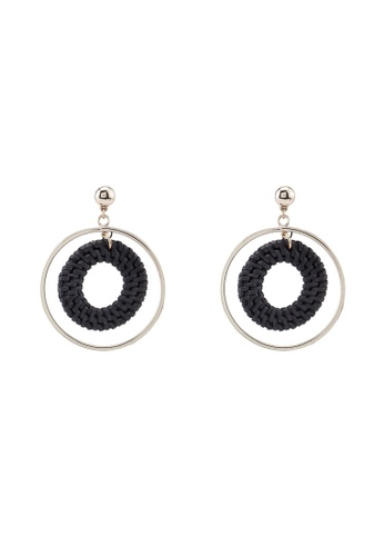 Forever New black Ren Raffia Circle Drop Earrings 5C611AC5851436GS_1