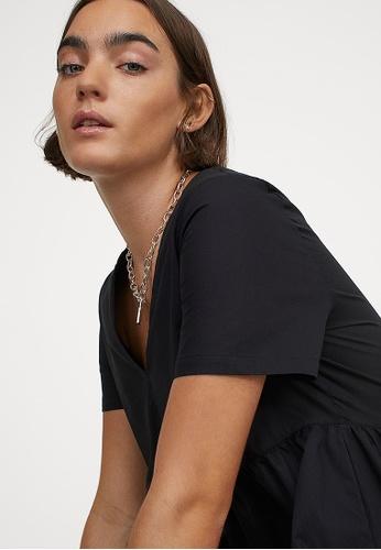 H&M black Cotton Dress A114EAACA6EFE0GS_1