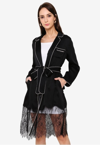 Hopeshow black Lace Hem Robe with Sash Belt 6701EAA65EAEFCGS_1