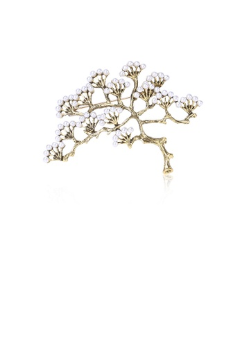 Glamorousky white Simple and Fashion Plated Gold Pine Imitation Pearl Brooch D1E28ACD43500DGS_1