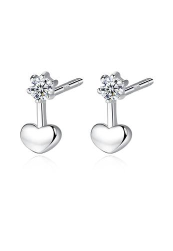 SUNRAIS silver High quality Silver S925 silver heart earrings C6302AC5D8F13CGS_1