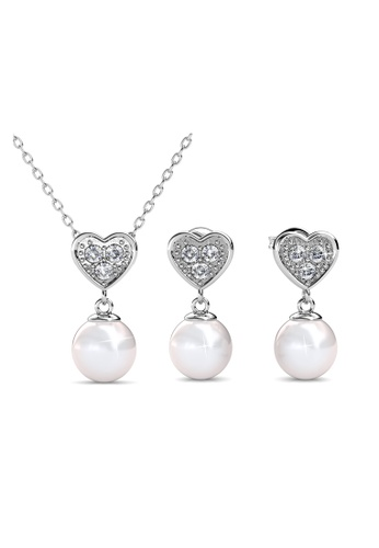 Her Jewellery silver Pearl Heart Set - Made with Premium grade crystals from Austria FA1B0ACCB43CF7GS_1