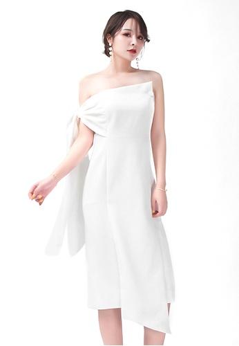 Urban Outlier white Off Shoulder Banquet Midi Dress E3A96AA7B6FA14GS_1