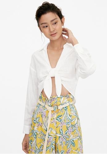 Pomelo white Front Tie Drop Shoulder Shirt - White 2FF3AAA5751BA7GS_1