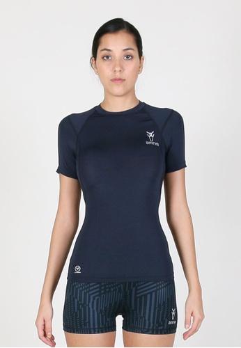 AMNIG 海軍藍色 Women Maxforce Agile Compression Short Sleeve Top (Navy) FA118AA70CD62EGS_1