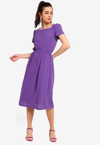 ZALORA purple Square Neck Midi Dress B8DF3AA706104FGS_1