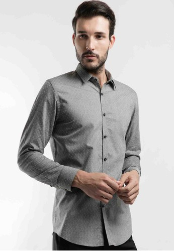 MANLY grey MANLY Loftus Grey Slim Fit Striped Shirt Long Sleeve Printed F4209AAEAED1DEGS_1
