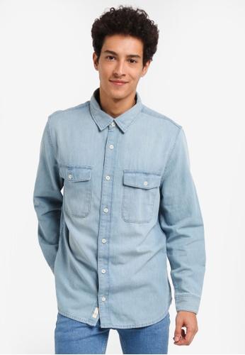 MANGO Man 藍色 休閒長袖牛仔襯衫 D01D9AA5705473GS_1