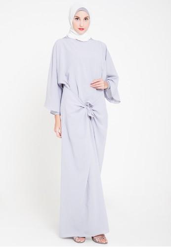 TITAN'S WARDROBE grey Tied Dress in Grey TI407AA48AXNID_1