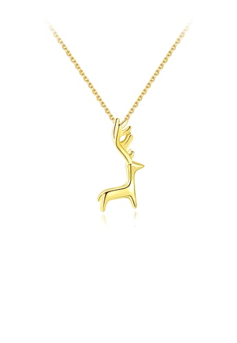 Glamorousky silver 925 Sterling Silver Plated Gold Simple Cute Elk Pendant with Necklace 83B08AC1C463ECGS_1