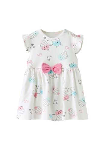 Little Kooma white Baby Girl Ruffled Sleeves White w Cupcakes Bodysuit Dress Pink Bowtie 7E912KAE905AF4GS_1