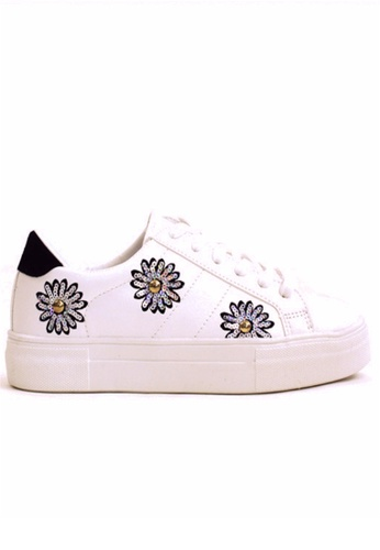 Crystal Korea Fashion black and white Korean System Of Wild Tie Sequins Flower Pattern Casual Shoes CR681SH2UVIYHK_1
