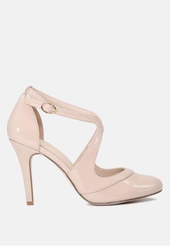 London Rag beige Close Toe Cross Strap Heel Sandal 4E263SH3D3A827GS_1