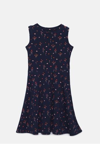 ZALZA navy Judy 100% Organic Cotton Knitted Girls Dress - Navy Blazer 186E7KA1568A0DGS_1