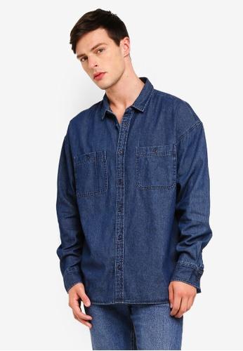 Cotton On 藍色 Long Sleeve Workwear Shirt BB846AAE4E89EBGS_1