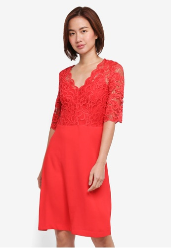 Wallis red Red Lace Fit And Flare Dress 45A5DAA029B6C6GS_1