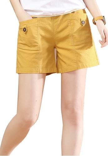 A-IN GIRLS yellow Elastic Waist Casual Shorts 1C51EAAC196DD7GS_1