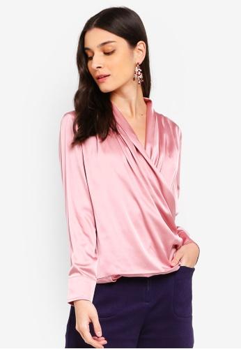 ZALORA 粉紅色 Overlap Drape Top FB089AA6542026GS_1