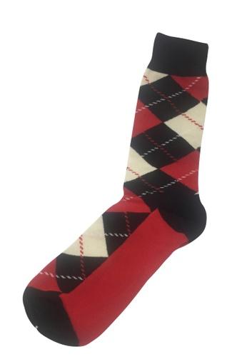 Splice Cufflinks Plaids Series Black, Red and White Socks SP744AA43PAISG_1