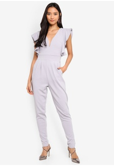 ced61bc890b5 Frill Shoulder Plunge Jumpsuit 85964AA3BA1A26GS 1