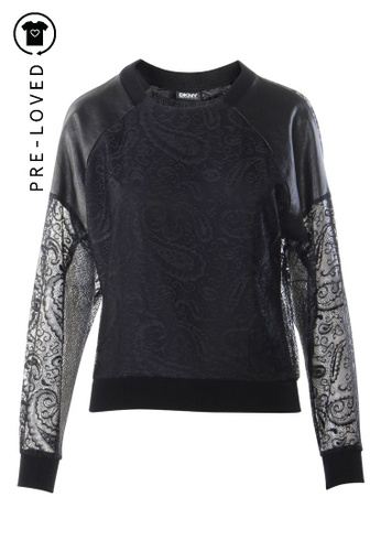 Dkny black Pre-Loved dkny Black Laced and leather Long sleeves top 49B7CAA3A25859GS_1