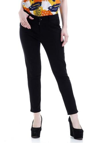 Evernoon black Tinsley Celana Chino Bawahan Wanita Kasual Motif Solid Long Pants Woman - Hitam FF132AA5CE0C8CGS_1