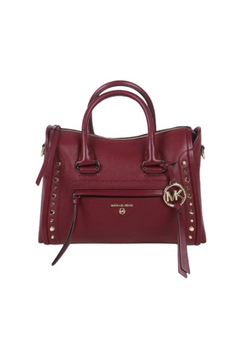 MICHAEL KORS red Michael Kors Small Carine Studded 30T0LCCS0L Satchel Bag In Dark Berry 266B8AC34E6755GS_1