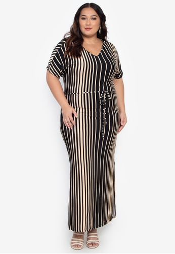 Plus Size Drawstring Maxi Dress