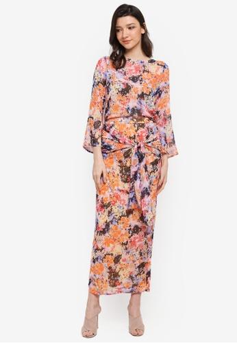 One-Ra BY DYNAS MOKHTAR orange Wrap Floral Kurung 89757AAE61F75FGS_1