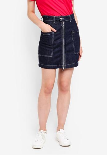 Pieces blue Denni Denim Skirt E4CB2AAAA5F56FGS_1
