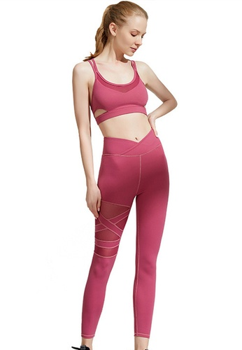Sunnydaysweety red Cross Back Quick-Drying Sports Bra with Legging Set A21031702RD 16A30AA152EA41GS_1