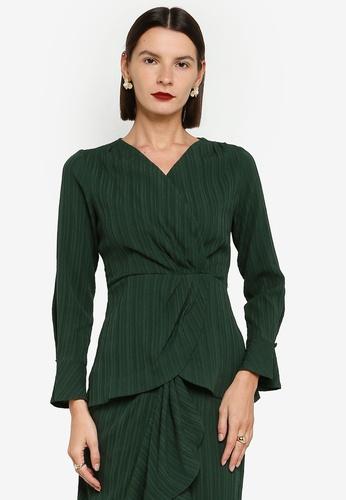 Zalia 綠色 Drape Wrap Top 7CF50AA090B084GS_1
