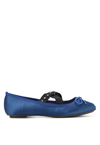 Something Borrowed navy Studded Ballerina Flats E458FSH1852FFBGS_1