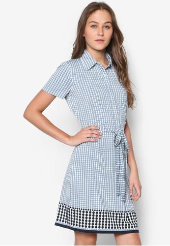 繫帶印花襯衫洋裝, 服飾, esprit outlet 桃園洋裝