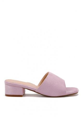 KissXXX 紫色 清新氣質馬卡龍色系絨面小方頭一字款中跟時尚拖鞋 KI603SH09LF0TW_1